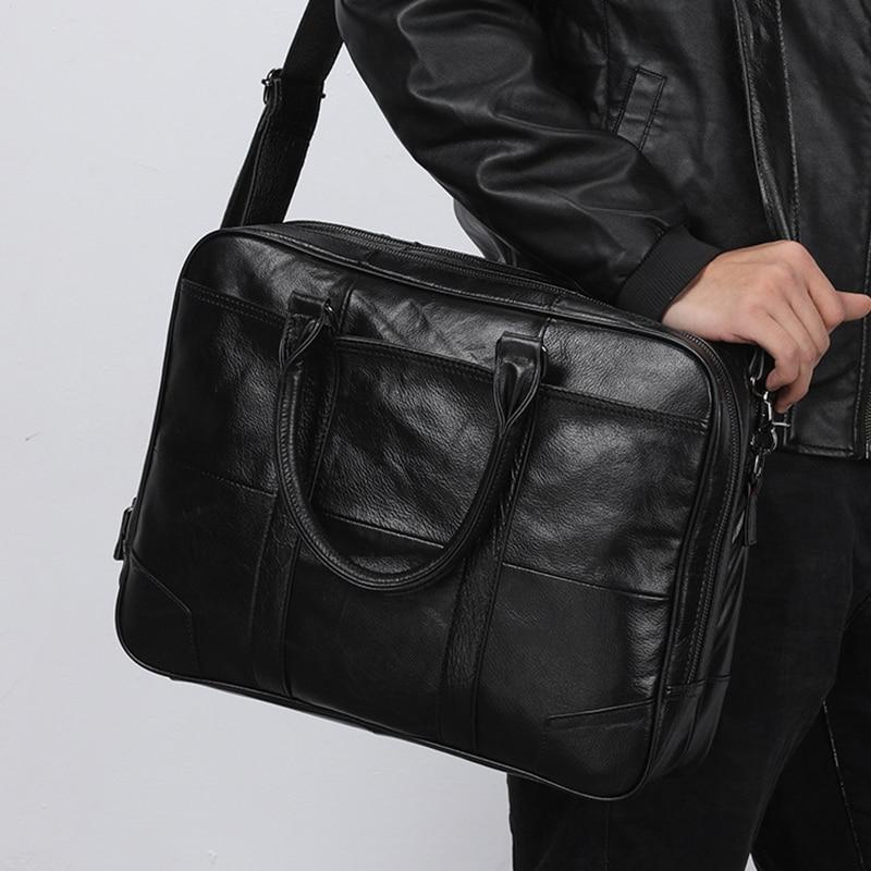 ROCKCOW Full Grain Genuine Leather Briefcase Men Laptop Bag Leather Office Shoulder Bags Male Messenger Bag