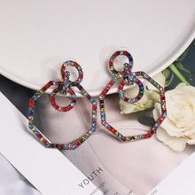 retro geometric octagonal  stud earrings exaggerated big jewelry fashion korean luxury