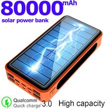 80000mAh Solar Power Bank przenośne ładowanie 4USB Port wyjściowy akumulator PowerBank dla Xiaomi Samsung IPhone tanie tanio ALLPOWERS Bateria litowo-polimerowa Z panelu słonecznego Wsparcie szybkie ładowanie Z latarką Wodoodporna Cztery USB