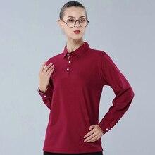 High quality autumn women long sleeve polo shirts soild color casual female lapel polos shirt 80%cotton mujer fashion slim tops