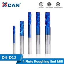 XCAN 1pc 4mm 12mm Nano Blau Beschichtung Schruppen Ende Mühle 4 Flöte Spirale Hartmetall schaftfräser CNC Router Bit Ende Fräsen Cutter