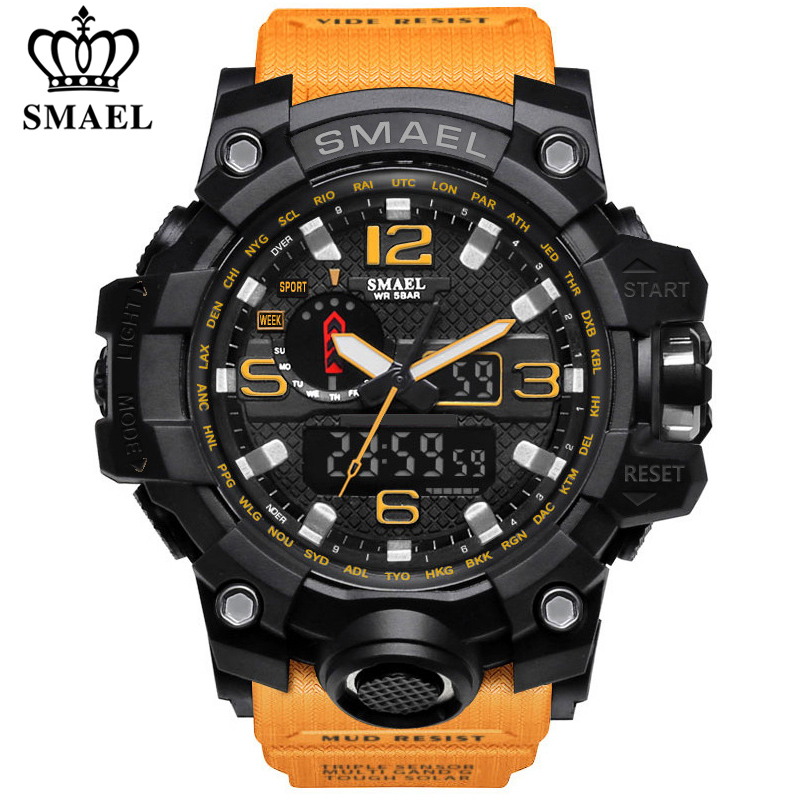 SMAEL Brand Luxury Military Sports Watches Men Quartz Analog LED Digital Watch Man Waterproof Clock Dual Display Wristwatches