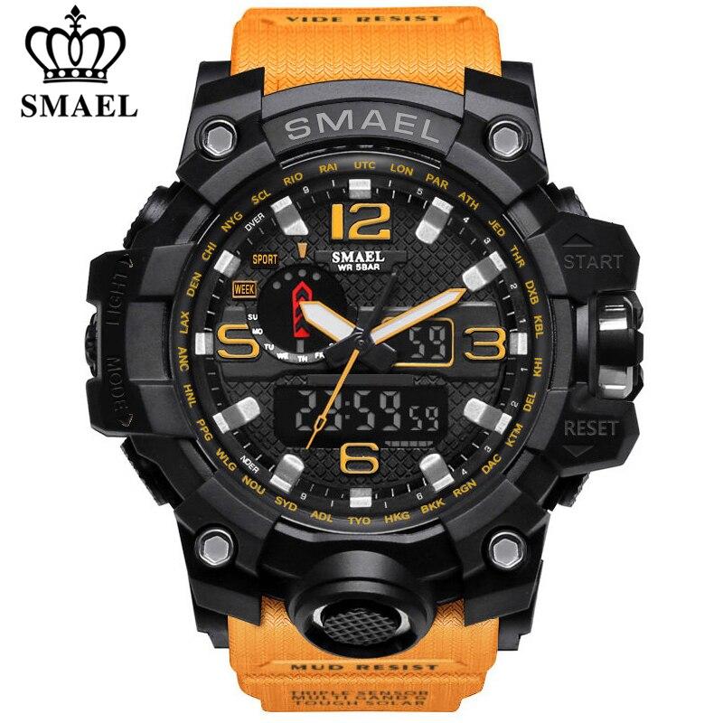 Smael marca de luxo militar esportes relógios masculino quartzo analógico led digital relógio homem à prova dwaterproof água dupla exibição relógios pulso