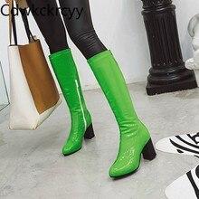 Зимние новые модные высокие сапоги на толстом каблуке с круглым носком сексуальное платье, милые бархатные теплые женские сапоги на высоком каблуке, размеры 34-48