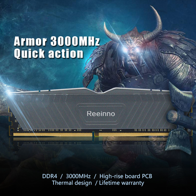 Reeinno 8GB DDR4 3000MHz 1.2V NON-ECC 284-pin DIMM Desktop Ram Lifetime Warranty For Computer Games RAMS 1
