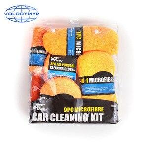 Image 3 - Herramientas de limpieza de coche 9cs, incluye microfibra, limpiador de ruedas, inglete, cepillo de cera, esponja para cuidado automático, Carwash