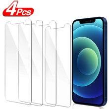 4 pçs vidro protetor para iphone 12 11 pro xs max xr 7 8 6s plus protetor de tela vidro temperado para iphone 11 12 mini vidro