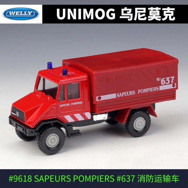 1:43 unimog caminhão de bombeiros engenharia veículo liga puxar para trás brinquedos modelo de carro veículos