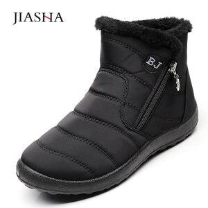 Image 4 - חורף נשים מגפי 2020 חם בפלאש שלג מגפי נשים נעלי צינור עבה עמיד למים רוכסן צד נעלי נשים קרסול מגפי פלוס גודל