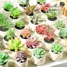 Um conjunto vasos de plantas artificiais suculentas arranjo de flores acessórios desktop bonsai flores artificiais grama plantas falsas