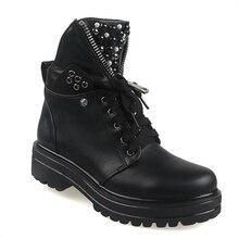 Botas cortas con plataforma para mujer, zapatos de moto con remaches de perlas, estilo Punk, Botines de Cuero Otoño, 2020