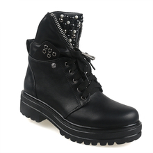 Women Short Boots 2020 Ladies Leather Ankle Boots Autumn Platform Motorcycle Shoes For Womans Punk Winter Pearl Rivet Fashion