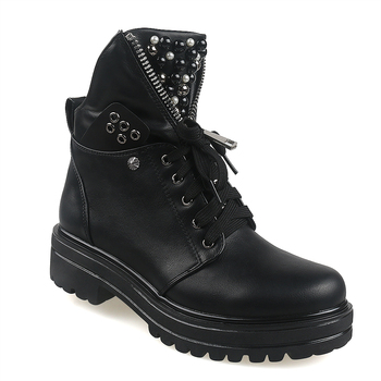 motorcycle platform boots women wedge shoes autumn winter fur fashion round toe lace up suede leather boots ladies shoes Women Short Boots 2020 Ladies Leather Ankle Boots Autumn Platform Motorcycle Shoes For Woman's Punk Winter Pearl Rivet Fashion