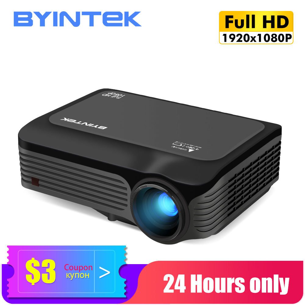 BYINTEK Mini Projector Full HD K18 T26K,1080P Beamer,LED Proyector For Smartphone 3D 4K Cinema (Optional Android 10 TV BOX)