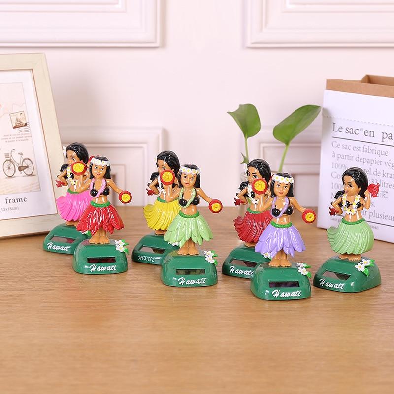 1Pcs Cartoon Fashion Solar Energy Swing Hawaiian Girls Crafts Toys Vibrant Creative Home Desktop Decoration Vehicle Ornament Toy
