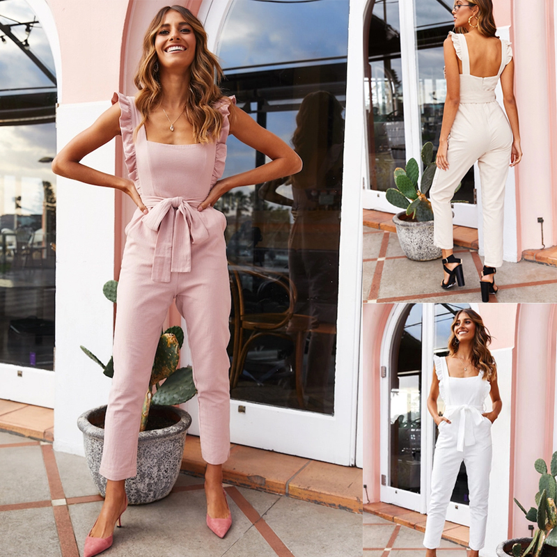 Sleeveless Women Solid Pink Jumpsuit Romper Summer Backless Ruffle Ladies Jumpsuit White Sash Casual Female Overall