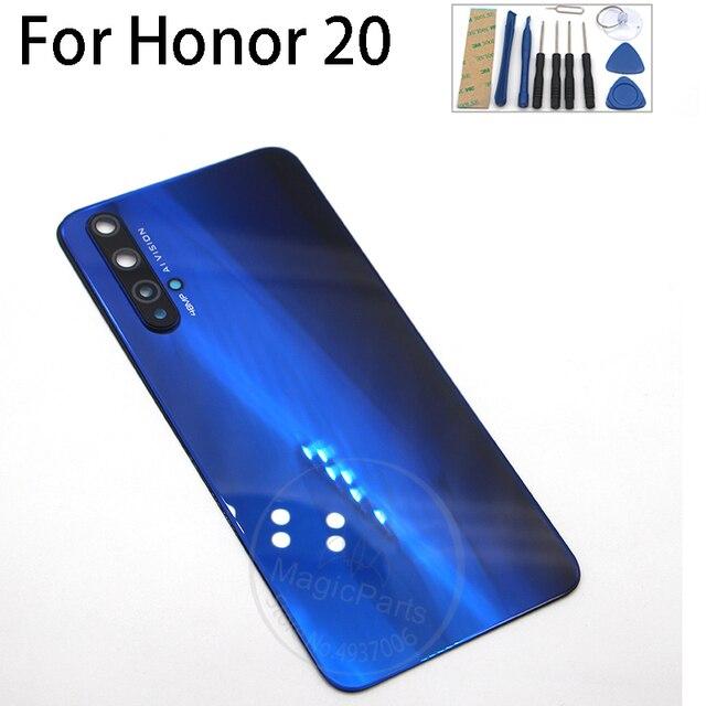 Arka kapak Huawei onur için 20 yedek parça arka pil kapağı kapı konut + flaş kapak + kamera lens
