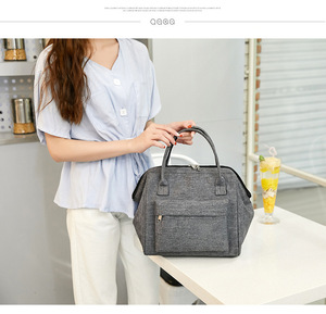 Image 2 - Large Portable Insulated Canvas lunch Bag Thermal Food Picnic Lunch Bags Women kids Men Cooler Lunch Box Bag Tote