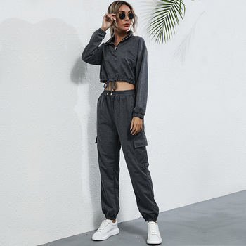 women Sports suit 2021 New Fashion short pullovers and long sports pants sets for female Spring Autumn hoodie suits 1