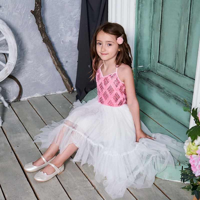 Tinggi Rendah Bunga Gadis Gaun 2020 Gaya Baru Payet Gaun Ballroom untuk Pesta Pernikahan Melakukan Baju Anak E17128