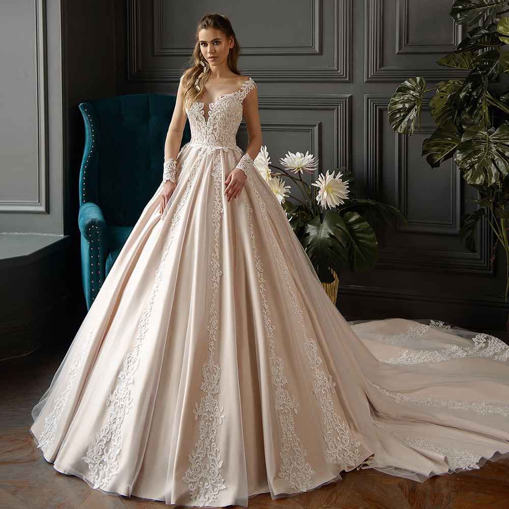 2020 All Over Appliques Princess Long Sleeve Wedding Dress A-line Vestido De Noiva Ivory Lace Champagne Bridal Gowns China