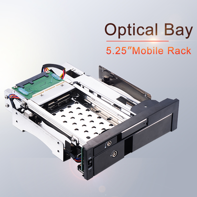 Uneatop Optical Bay Aluminum 2.5+3.5in multi function SATA Internal Hot swap HDD Mobile Rack for dual tray less enclosure-in HDD Enclosure from Computer & Office