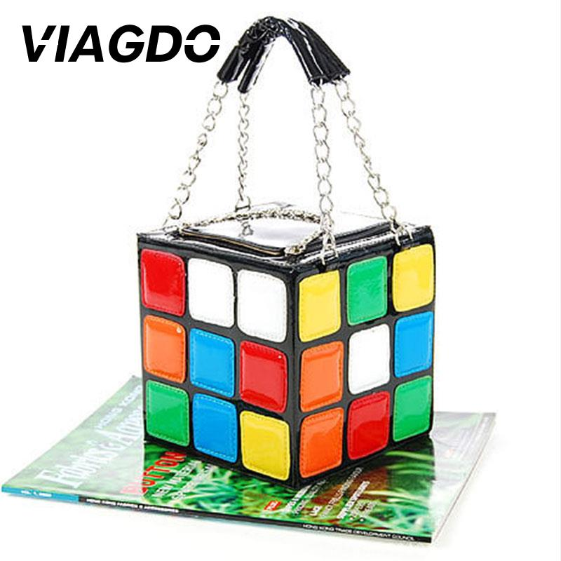 Fashion PU Leather Square Bag Fashion Personality Novelty Magic Cube Multicolor Casual Handbag Creative Bag Gift For Girl Friend