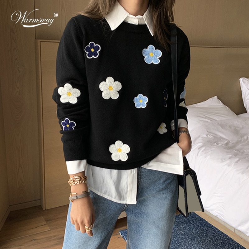 Korean Floral Emobroidery Pullover Sweater High Quality Women Elegant O Neck Knitted Tops C 089