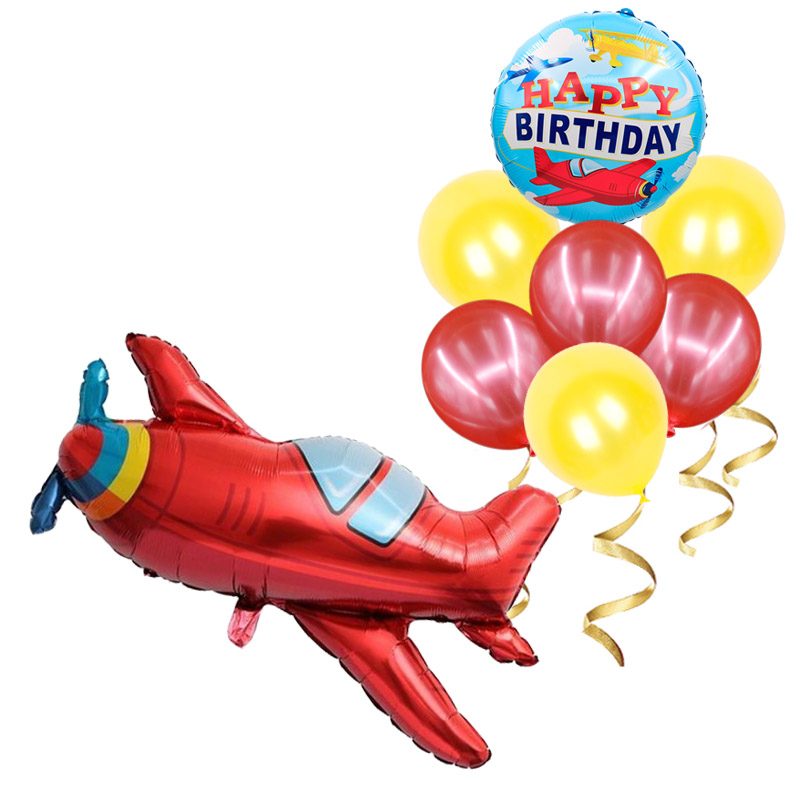 1set Baby Boy Airplane Toys Birthday Wedding Party Decorations Kids Party Supplies 32inch Number Foil Globos Confetti Latex Ball
