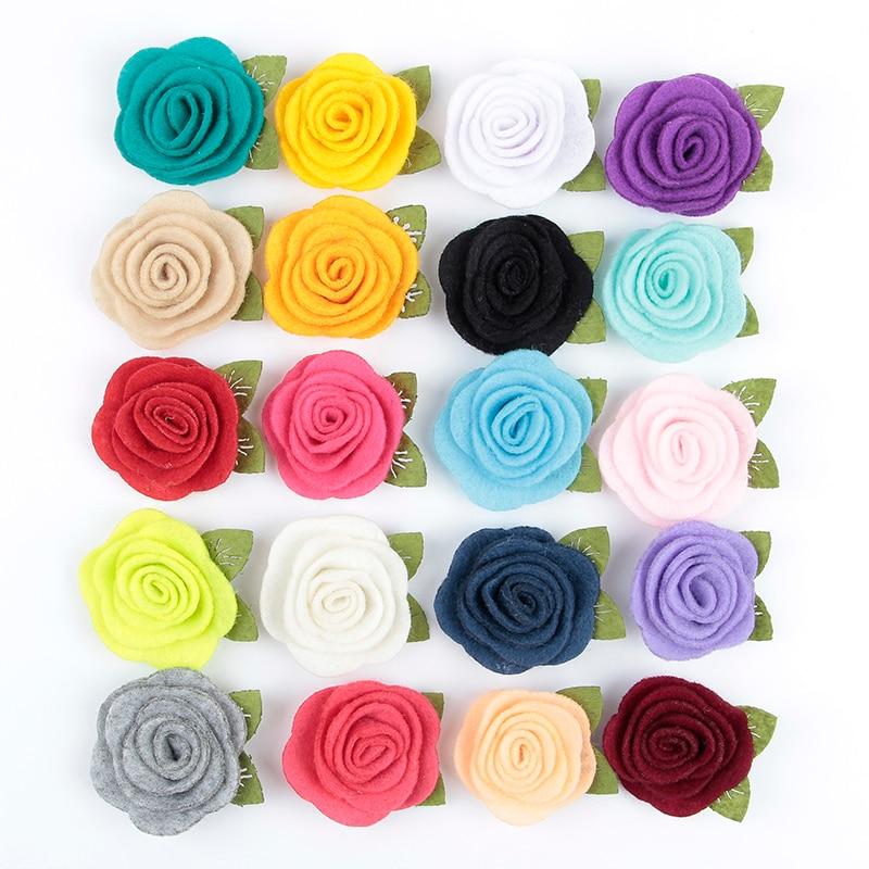 Yundfly 10pcs 3.5CM Felt  Rose Flower Hair Accessories Handmade Rolled Rosettes For Hair Clip Baby Girls Headband