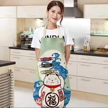 Cotton and Linen Apron Japanese Cartoon Lucky Cat Cooking Sleeveless Bib Waterproof Anti-greasy Kitchen Supplies Chef Apron