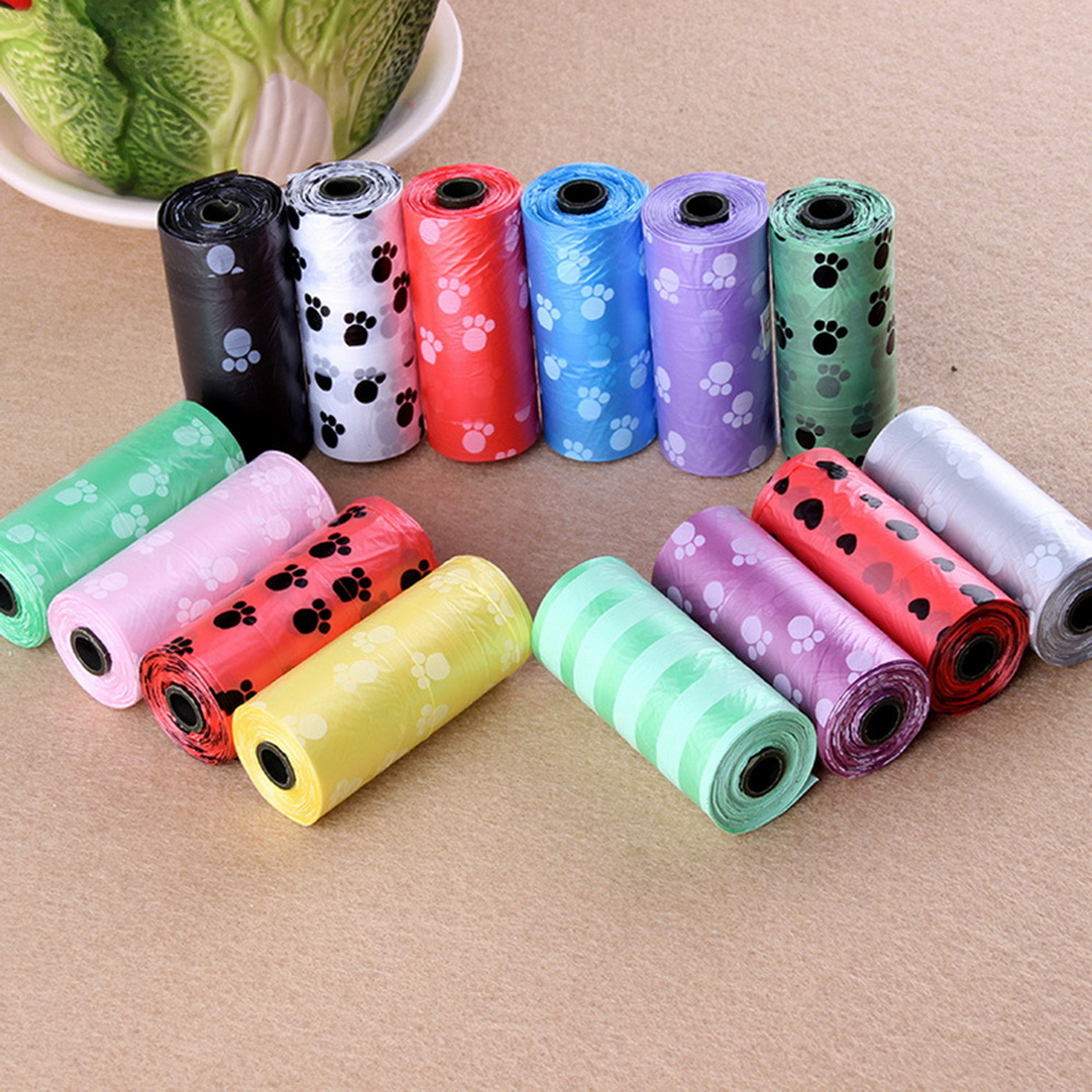 DIDIHOU Pet Supply Feet Printing Cat Dog Waste Poop Bags Outdoor Home Clean Refill Degradable Garbage Bag Organizer 15PCS/1Roll