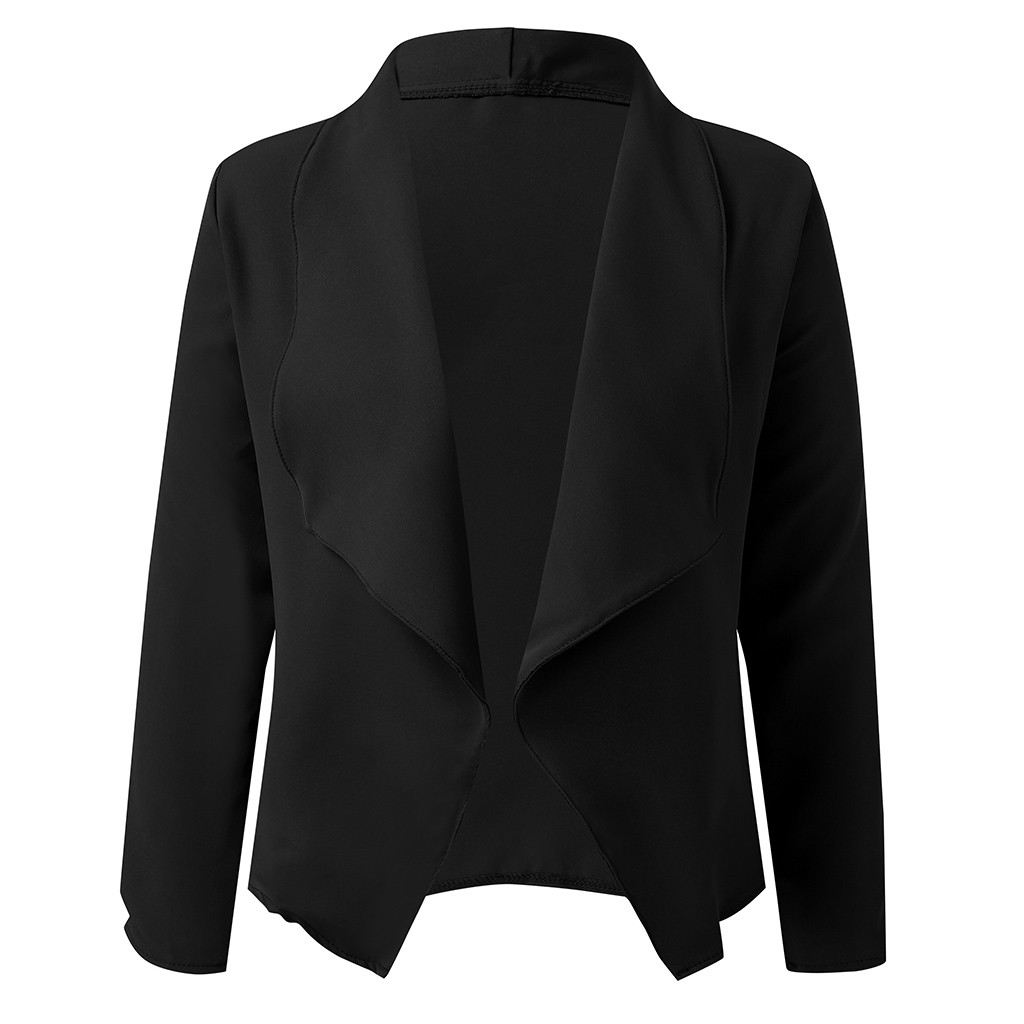 New Women Solid Blazers Cardigan Coat Long Sleeve Women Blazers And Jackets Ruched Asymmetrical Casual Business Suit Outwear#J30