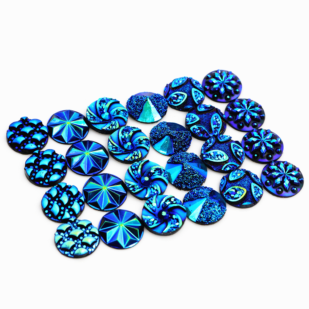 New Fashion 40pcs 12mm Mix Blue AB Colors Flower Fashion Style Flat Back Resin Cabochons Cameo