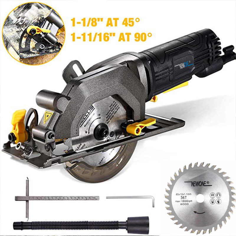 Tools : NEWONE 600W 3500RPM Mini Compact Circular Saw with Laser Guide Small but Powerful Ideal for Wood Tile Aluminum and Plastic Cut