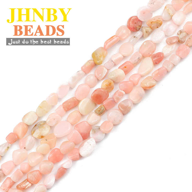 JHNBY 天然石ピンクオパール不規則な砂利 4 〜 7 ミリメートルのスペーサーのためにブレスレットネックレス DIY アクセサリー