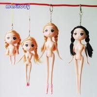 100pcs/Lot 9/12/17/24CM DIY Doll Key Chain Nude Naked Doll Keychain Princess Wedding Keyring Cell Phone Straps Lobster Clasp DIY