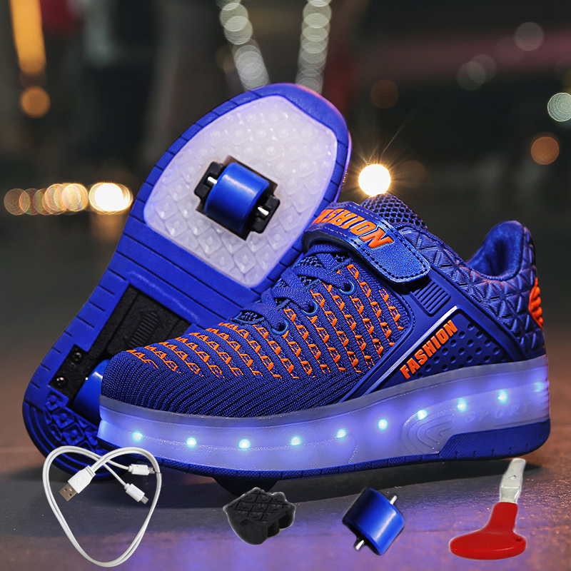 Boys Blue Shoes USB Charging Krasovki Rollers Glowing Sneakers With Wheels Roller Skates Luminous Sneakers For Boys With Rollers