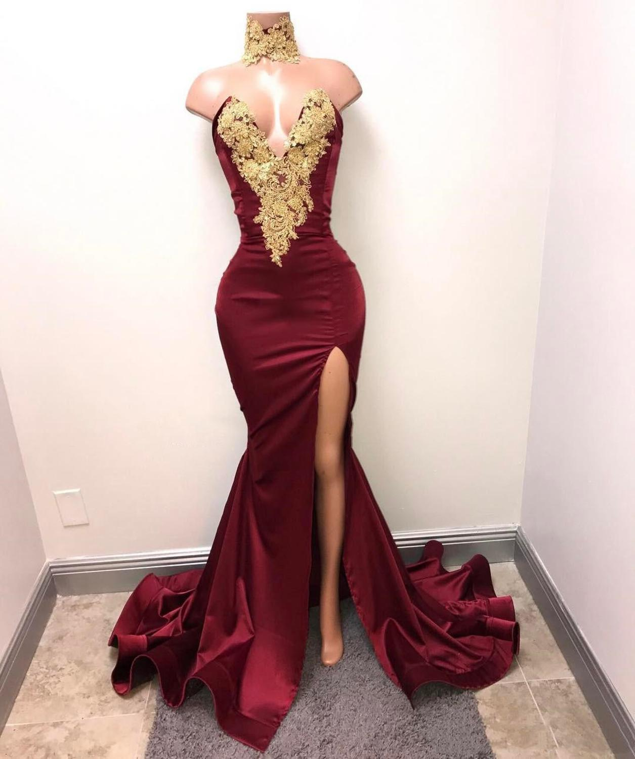 Hot Sale Burgundy Mermaid Prom Dress Lace Appliques Sexy Slit Deep V-Neck Evening Gowns Formal Dresses 2020 prom dresses