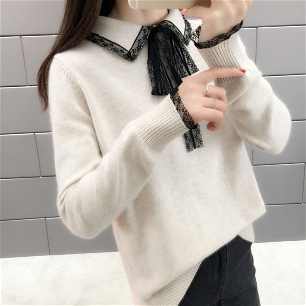 2019 Women Winter Solid Color Hooded Sweater Long Sleeve Bandage Knitting Tops Basic Soft Handfeel Candy Cute Sweater