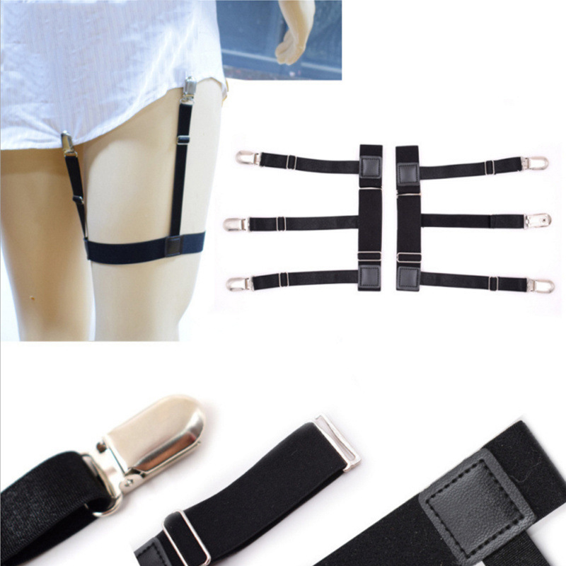 Helisopus 1 Pair Men's Shirts Holders Resistance Belt Stockings Clip Nylon High Elastic Thickened Suspenders