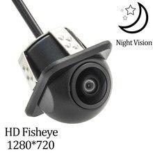 Owtosin hd 1280*720 lente olho de peixe luz das estrelas visão noturna câmera de visão traseira do veículo estacionamento backup câmera monitor acessórios