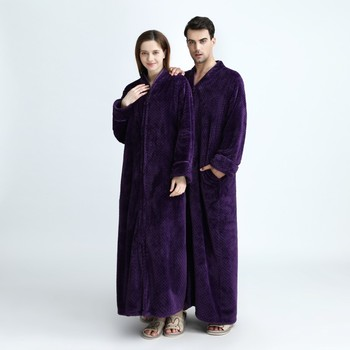Autumn And Winter Men Long Robe High Quality Flannel Zipper Pineapple-Shaped Bathrobe Couple Coral Velvet Pajamas Халат пижама