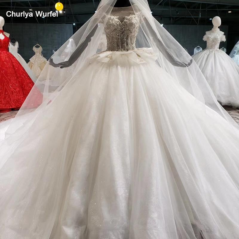 HTL1026 Wedding Gown Lace Up Two Sides Peplum Applique Glitter Luxury Wedding Dress Illusion With Veil Vestidos De Noivas