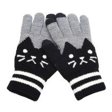 Зимние перчатки унисекс с котом, вязаные перчатки с пальцами, теплые флисовые варежки для тренировок, спортивные Дышащие варежки