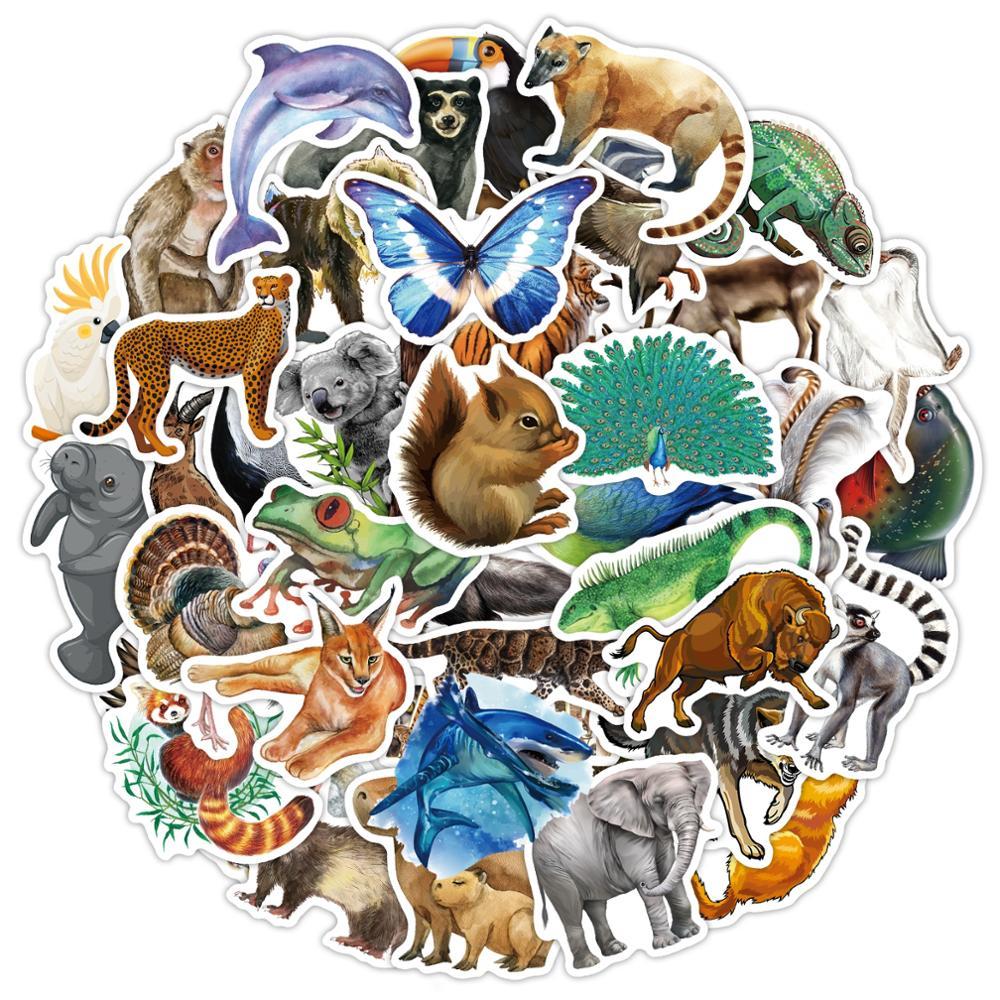 80pcs//set Rainforest Animals Stickers for Laptop Bottle Bicycle Cute StickerBDA