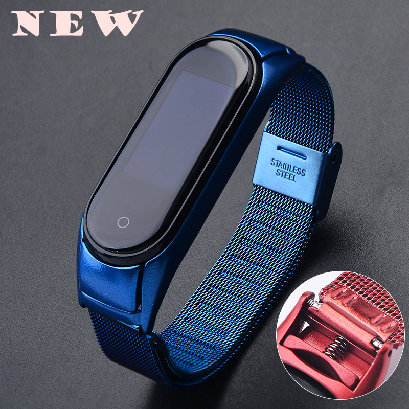 New Steel Mi Band 4 Metal Strap For Xiaomi Mi Band 4 Wrist Strap Buckle Loop Bracelet Miband 4 Band4 Protector Case Strap Blue