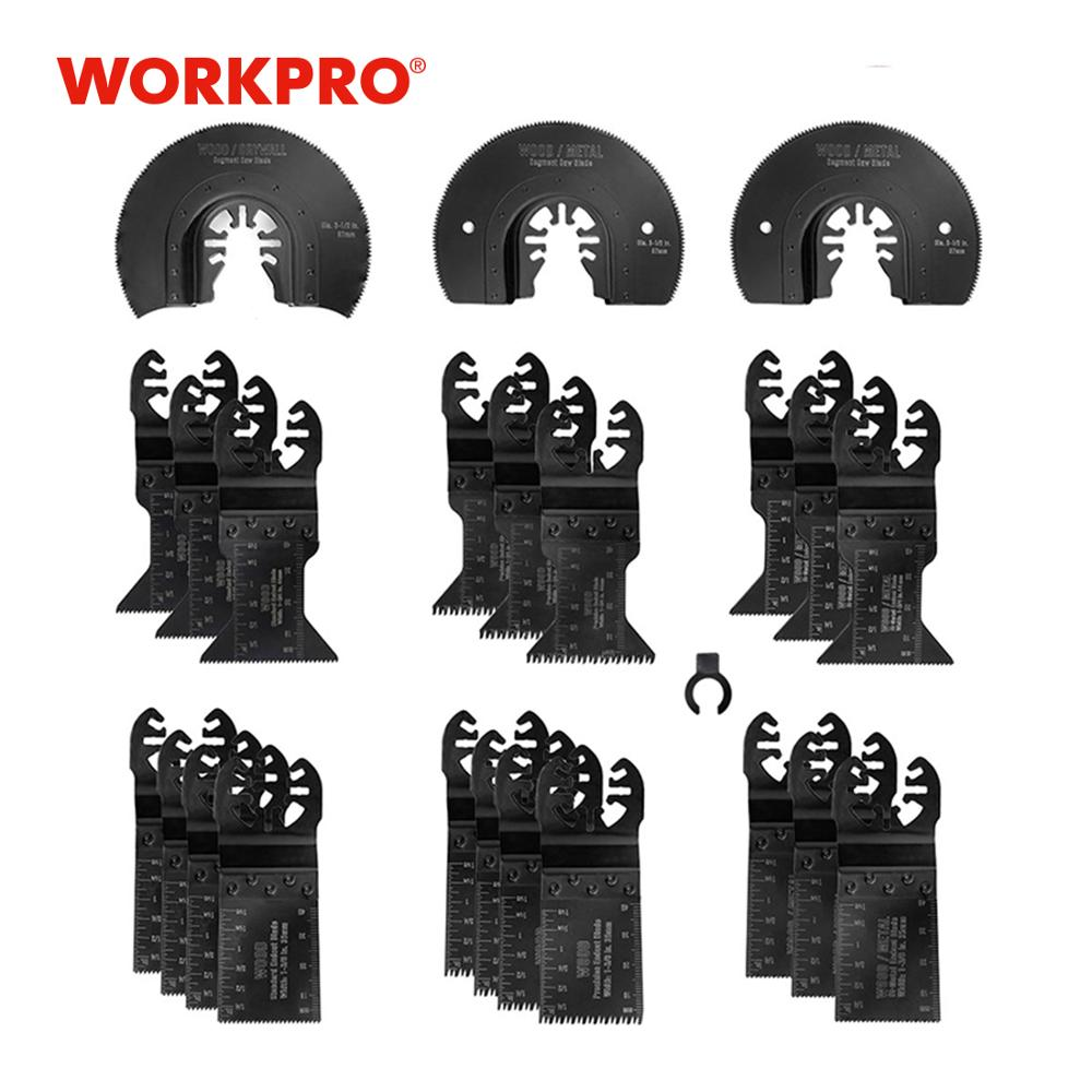 WORKPRO 23PC Multi Oscillating Saw Blades For Metal Wood Quick Release Saw Blades Multitool Saw Blades