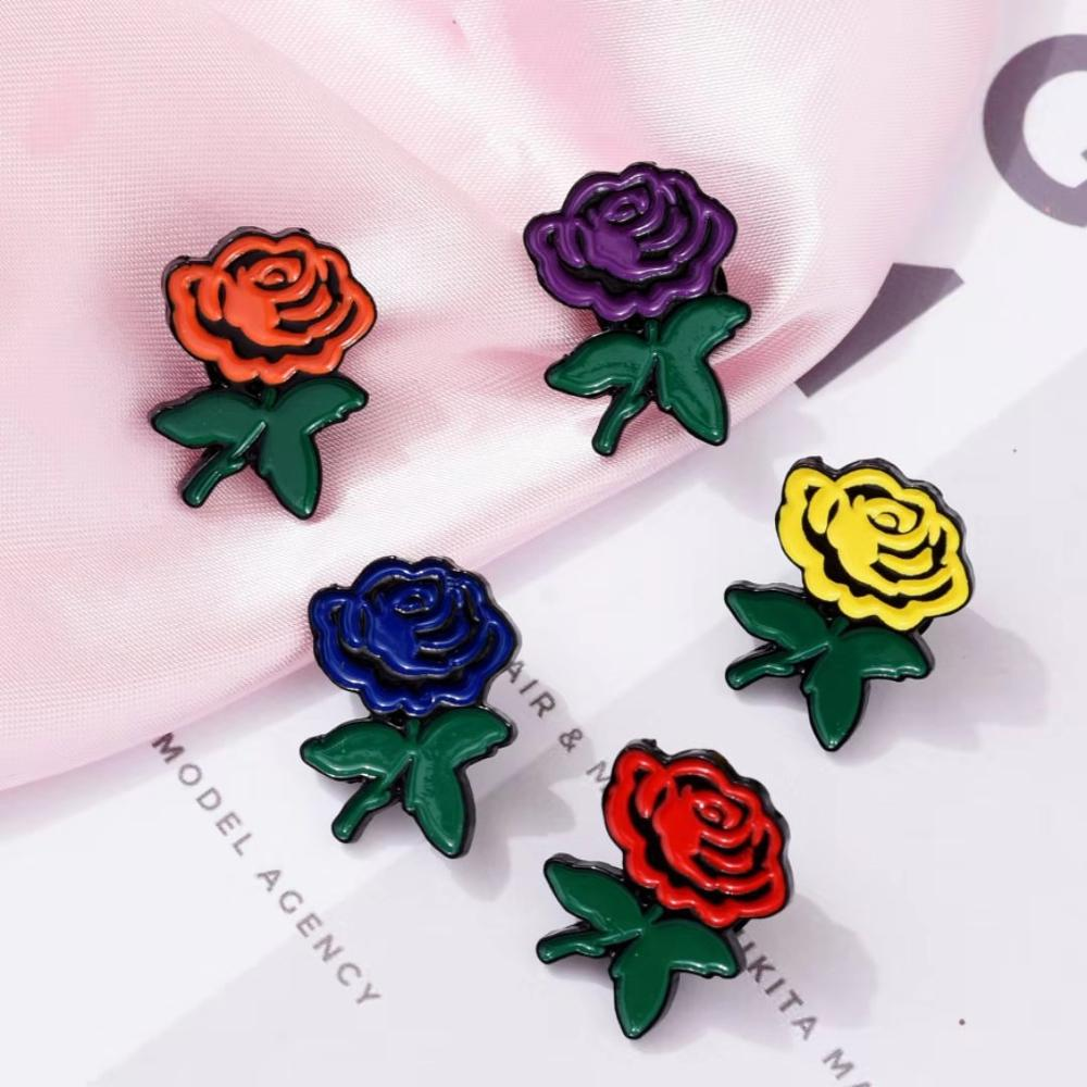 5 Styles Rose Flower Enamel Pins Confession Couple Gift Brooch Denim Clothes Bag Lapel pin Valentine\'s Day Jewelry Couple Gift