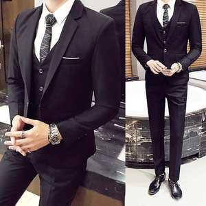 3Pcs/Set Luxury Plus Size Men Formal Business Vest Jacket Tuxedos Wedding Suit